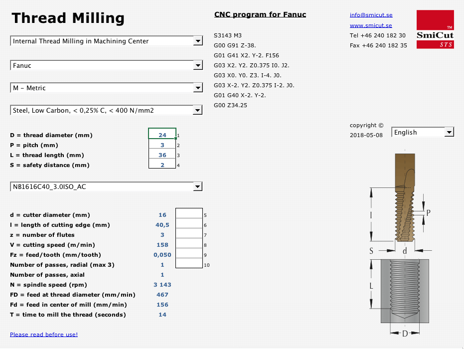SmiCut software for programming thread milling